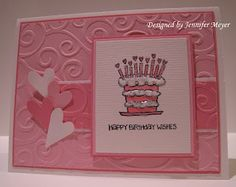 lots of pink but simple layout embossed card