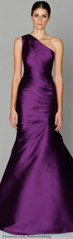 Monique Lhuillier. Purple Satin, Purple Gowns, Royal Purple Dress, Lilac, Lavender, Stunning Dresses, Pretty Dresses, Beautiful Dresses, Gorgeous Dress