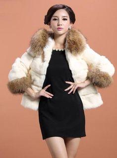 90038 New Real Rabbit Fur Raccoon Collar 4 Color Hooded Jacket Coat Outwear | eBay