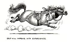 Grip will improve with experience - Norman Thelwell Horse Cartoon, Funny Horses, All About Horses, Horse Quotes, Comic, Horse Pictures, Horse Love, Western Art, Horse Art