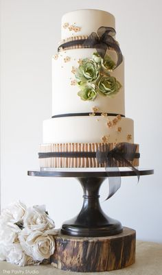 Mint, Blush  Gold Cake by The Pastry Studio  |  TheCakeBlog.com