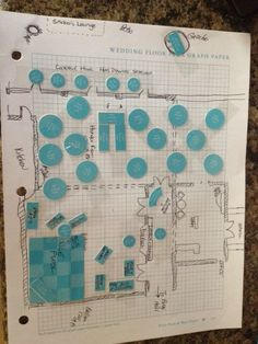 my DIY blueprint of the reception hall.. I used it to coordinate with my wedding coordinator which made it easier since she was in Savannah and I am in Atlanta!  thanks to my awesome Maid of Honor Allison Phoenix for the wedding planning binder she bought me that included the pieces! After I drew a blueprint of the reception hall on some graph paper I was able to really envision exactly how I wanted everything staged!