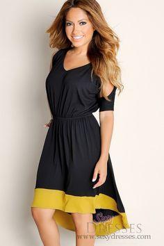 f9f17b090de Cute Black Serene Summer Flowy Color Block Half Sleeve HighLow Tunic Dress