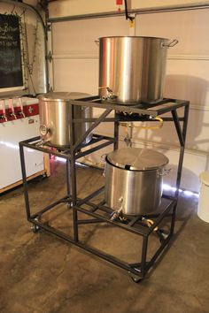 This is my ideal homebrew system.  Gravity powered, compact, not too high.  Would probably use a cooler convert for the mash tun.