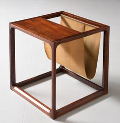 Aksel Kjersgaard; Rosewood and Leather Side Table, c1960.