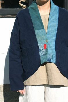 Antique indigo linen jacket with Japanese boro/Japanese style jacket/French linen/cotton/indigo dyed/sashiko/hand stitched/handmade/258