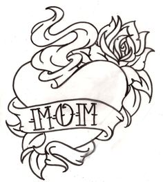 American Traditional Mom Sacred Heart Tattoo with Rose 7 by ~Metacharis on deviantART Mom Tattoos, Trendy Tattoos, Body Art Tattoos, Jail Tattoos, Traditional Heart Tattoos, Traditional Tattoo Design, Tattoo Motive, Tattoo Outline, American Body Art