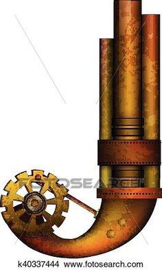 steampunk, carta, aislado, blanco, vector Ver Clip Art Gráficos en Grande