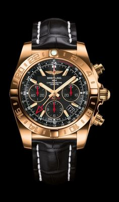 Edition Chronomat 44 GMT traveler's watch by Breitling - rose gold case, onyx black dial, black croco strap. Breitling Superocean Heritage, Breitling Chronomat, Breitling Watches, Elegant Watches, Stylish Watches, Luxury Watches For Men, Cool Watches, Gold Case, Swiss Army Watches