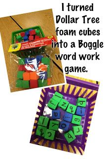 DIY Boggle Word Work Game made from foam cubes from the $ store