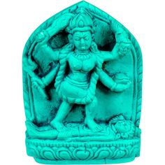 TURQUOISE KALI FIGURINE - MINI 42 x 32 x 15 mm Wicca Pagan Witch Goddess Goth