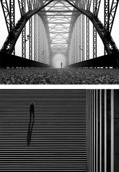 """Kai Ziehl  urban landscapes focus on symmetrical and geometrical shapes that are almost always broken by people silhouettes."""