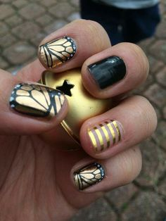 Butterfly Effect, Blackest Black, Metallic Gold Stripe Click the pic to order yours! #Jamberry #nails #butterfly http://jammin4life.jamberrynails.net/shop