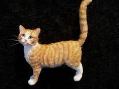 Dollhouse Miniature Orange Tabby Cat  *Handsculpted*