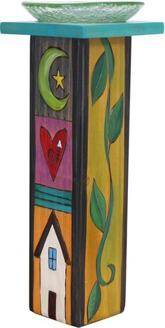 Large Pillar Candle Holder – Colorful candle holder with vine motifs and block icons Handmade Candle Holders, Modern Candle Holders, Large Candle Holders, Handmade Candles, Garden Whimsy, Garden Deco, Garden Art, Yard Art Crafts, Bee Crafts