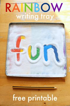 Magic rainbow sensory writing tray printable – NurtureStore Rainbow writing tray printable, how to make a sensory writing tray, rainbow literacy printables Preschool Literacy, Preschool Activities, Leadership Activities, Teaching Kindergarten, Phonemic Awareness Activities, Rainbow Activities, Therapy Activities, Pre Writing, Toddler Activities