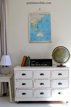 Vintage Perfection:  dresser makeover, industrial-style