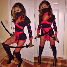 Boots: Vicious Tag Us In Your Halloween Looks. Badass Halloween Costumes, Looks Halloween, Cute Costumes, Ninja Costumes, Women Ninja Costume, Haloween Costumes 2017, Fancy Dress Costumes For Women, Costume Ideas, Halloween Outfits For Women