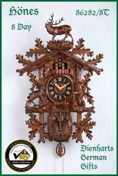 CC-86282/8T HONES EXTRA LARGE BLACK FOREST HUNTERS CUCKOO CLOCK 8 DAY | eBay