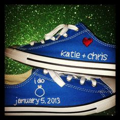 Custom Wedding Sneaker Embroidery by Flossworks on Etsy, $30.00