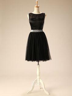 Black Boat Neckline Pretty Tulle Cheap Beaded Belt A-Line Short Bridesmaid Dress