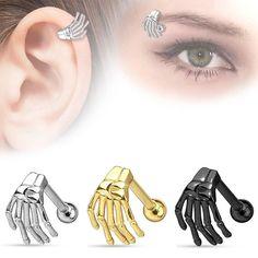f156e8dac Black Skeleton Hand Eyebrow Barbell/Cartilage Bar Ear Rings Piercing Jewelry  Barbell Earrings, Bar