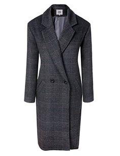 Acevog Boylymia Women's Double Breated Fitted Long Coat Woolen Lapel Longline Outdoor Long Coat Jackets-L-grey, Size: Large, Grey Long Wool Coat, Boyfriend Style, Mens Clothing Styles, Fashion Outfits, Womens Fashion, Double Breasted, Suit Jacket, Plaid, Clothes For Women