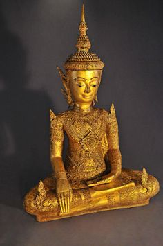 Early 19th Century, Gilt bronze Jumbupati Buddha (Crowned), Thailand.