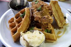 Bar Deco chicken and waffles. Gluten free chicken! Read the review at BitchesWhoBrunch.com