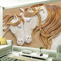 Ceramic-like white horse pair sculpture look wallpaper for walls. Gorgeous horses with shiny silver gold braided manes wall mural. Gold Wallpaper Living Room, White And Gold Wallpaper, Look Wallpaper, Photo Wallpaper, Wall Wallpaper, Horse Wallpaper, Cheap Wallpaper, Elephant Wallpaper, Adhesive Wallpaper