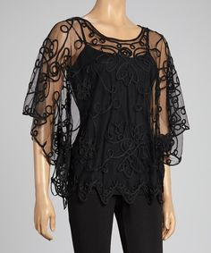 Take a look at this Black Embroidered Silk-Blend Cape-Sleeve Top - Women on zulily today!