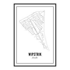 Een unieke print van de Zwollse wijk Wipstrikaan de muur? De Nieuwe Vecht, Herenweg, Leo Majorlaan, Vondelkade en uiteraard ook de Wipstrikkerallee staan er al