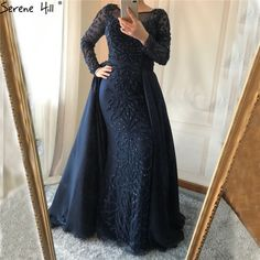 Luxury Arabic Evening Gowns with overskirt colors) - Nirvanafourteen Hijab Evening Dress, Hijab Dress Party, Beaded Evening Gowns, Mermaid Evening Dresses, Prom Dresses, Muslim Fashion, Hijab Fashion, Fashion Dresses, Dress Outfits
