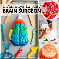 Play Brain Surgeon with a brain jello mold! Five messy and spooky ways to learn about the parts of the brain. Perfect for Halloween or Mad Scientist parties! Science Projects For Kids, Lessons For Kids, Science For Kids, Teaching Science, Science Experiments, Mad Scientist Halloween, Mad Scientist Party, Brain Activities, Preschool Activities