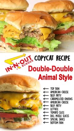 Double-Double Animal Style In-N-Out Burger Copycat - This copycat In-N-Out Burger recipe of the Double-Double Animal style is: Meaty, salty, crispy, chee - In And Out Burger, Wine Recipes, Beef Recipes, Cooking Recipes, Turkey Burger Recipes, Fast Food Burger Recipe, Simple Beef Burger Recipe, Beef Burger Patty Recipe, Bobs Burgers Recipes