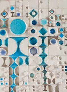 Rut Bryk, Untitled (detail), ca. Ceramic, 35 x 23 in. Photo by Niclas Warius Ceramic Wall Art, 3d Wall Art, Tile Art, Wall Murals, Deco, Ceramic Artists, Wall Sculptures, Textile Patterns, Pottery Art