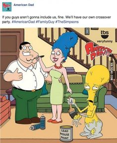American Dad as The Simpsons/Family Guy Cartoon Crossovers, Cartoon Tv, Cartoon Shows, American Dad Funny, American Dad Roger, Good Morning Usa, Family Guy Funny, America Dad, Funny Memes