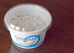 Healthier veggie dip! 6 oz cup of Chobani plain greek yogurt and approx 2 tbsp of Hidden Valley Ranch Dip mix. Only 15 calories per tablespoon of dip!