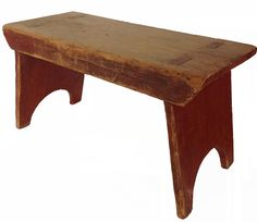 century small bench with the original dry red paint the legs are mortised thought the top and splayed, with a nice cut out foot on each end measurements are: long x wide x tall Primitive Furniture, Country Furniture, Vintage Furniture, Small Wooden Bench, Rustic Wooden Bench, Painted Benches, Old Benches, Wood Shop Projects, Step Stools
