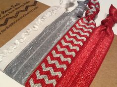 THE OHIO STATE Buckeyes Scarlet and Gray Chevron Hair Ties. Consider them bought!