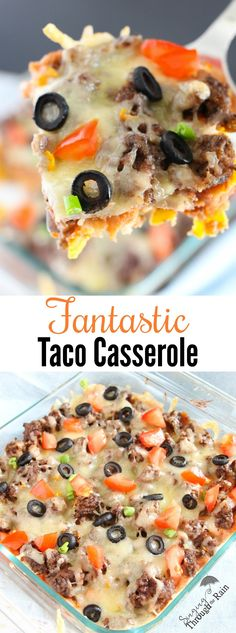 Fantastic Taco Casserole: This taco casserole is seriously SO good. The corn chips made forsmall, crunchy,taste and the added sour cream and guacamole made for a great dish!