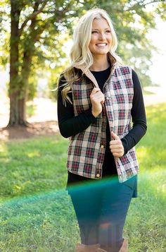 This monogrammed reversible vest is a fall fashion must have! Featuring a solid side and a pattern side in either plaid or stripes, making this two vests in one! You will definitely enjoy the versatility of this vest as you style it multiple ways. Dress it up by styling it over a dress with a pair of over the knee boots or dress it down by styling with a pair of leggings and duck boots!