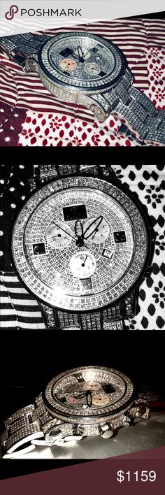 Men's Fully Iced Out Rayalty Watch Custom made. Extremely rare you won't find another with this many diamonds in store. 100% Authentic diamonds.  Exact diamond count isn't totaled because, 3 separate times it was sent back to jeweler to add more diamonds.   Diamonds are on the face, on the bezel, on the sides of face and casting & on the band.   Diamonds was put on watch until no space left to add stones. Watch fits a wrist of 7 inches and 1/8th. Any bigger wrists would have to order more…