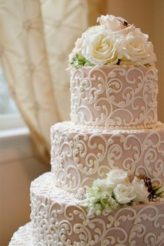 lace inspired tiered wedding cake - brides of adelaide