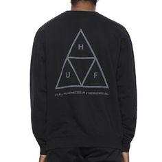 HUF Triple Triangle sweatshirt ras du cou noir gris 75,00 € #skate #skateboard…