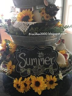 hope it's been a good week so far for you! I'm here to share the galvanized tiered tray all sunflowered up! Galvanized Tiered Tray, Good Morning Friends, Chalkboards, Tray Decor, Home Decor Inspiration, Seasonal Decor, Tablescapes, Floral Arrangements, Diy Home Decor