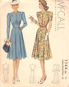 1930s McCall 3344 Misses Flared Skirt DAY DRESS womens vintage sewing pattern by mbchills