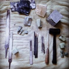 My stone carving tools. Made by Anne Schroeder Stone Sculpture, Sculpture Art, Sculptures, Stone Carving Tools, Calligraphy Tools, Soapstone Carving, Alabaster Stone, Stone Age, Bone Carving