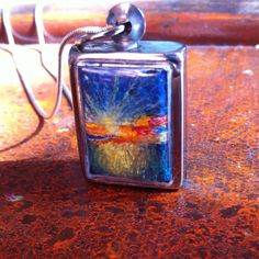 Miniature Original oil on canvas art work. Necklace with metal locket and silver chain. on Etsy, £25.00