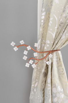 Cherry blossom curtain tiebacks for the bedroom!